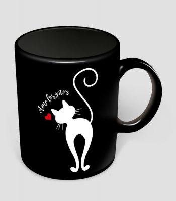 Jarro amo los gatos Negro