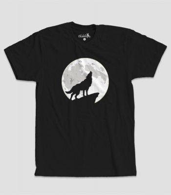 Camiseta Lobo Aullador Negra