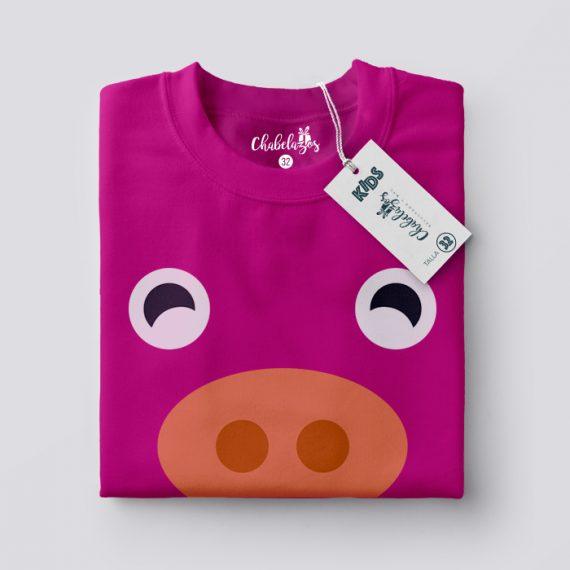 Camiseta Cerdito Fucsia doblada