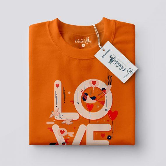 Camiseta Love Naranja Doblada