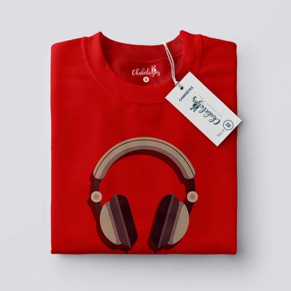 Camiseta Me gusta la música Roja doblada